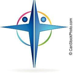 cruz, gente, logotipo