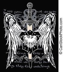 cruz, heráldico, cresta, águila