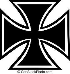 cruz, hierro, contorno