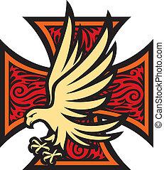 cruz hierro, en, tatuaje, estilo, y, águila