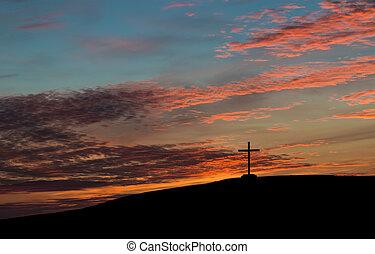 cruz, hiil, cielo