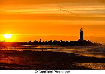 cruz, hullámtörő gát, lighthouse), (walton, napkelte, fény, ...