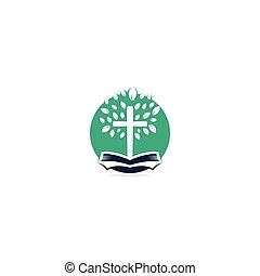 cruz igreja, logotipo, árvore, bíblia, design.