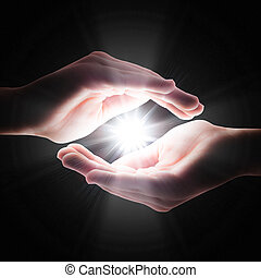 cruz, luz, en, el, oscuridad, en, mano