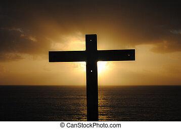 cruz, mar, ocaso
