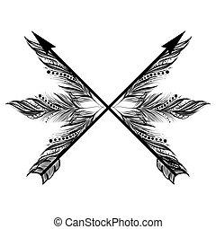 cruz, nativo, flecha, boho