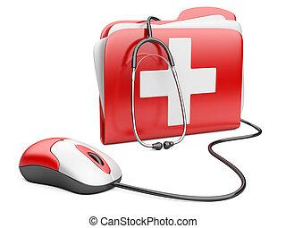 cruz, pc, carpeta, ratón, rojo blanco