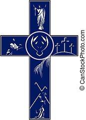 cruz, retratar, crucifixión, resurre