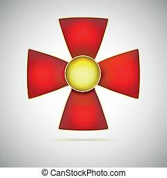 cruz roja, ilustración, de, un, militar, medalla