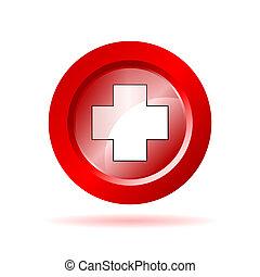 cruz roja, señal, vector, ilustración