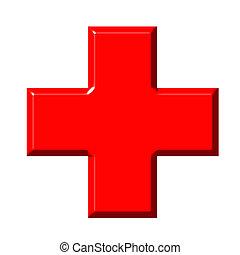 cruz, rojo, 3d
