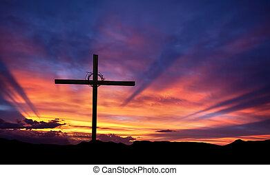 cruz, silueta, en, el, montaña, en, ocaso
