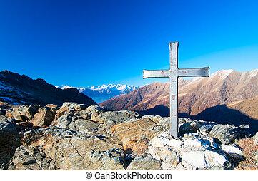 cruz, un, montaña, con, un, paisaje