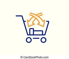 cruz, venda, línea, icon., mercado, venta al por menor, signo., vector
