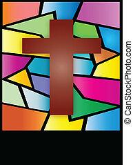 cruz, ventana, cristal de colores