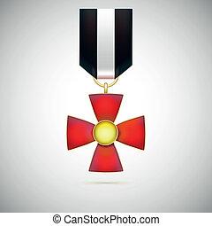 cruz vermelha, ilustração, de, um, militar, medalha