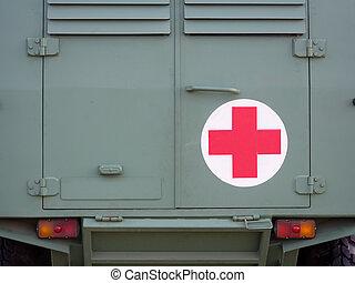 cruz vermelha, sinal, ligado, veículo militar