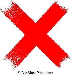 cruz, x, grungy, icono, rojo