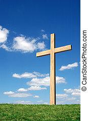 cruz, y azul, cielo
