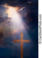 cruz, y, cielo dramático