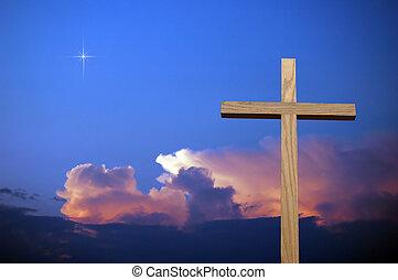 cruz, y, colorido, cielo