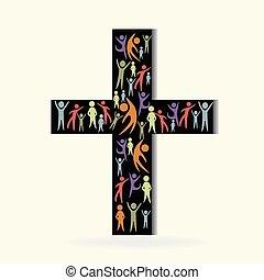 cruz, y, comunidad, gente, logotipo