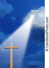cruz, y, luz, desde arriba