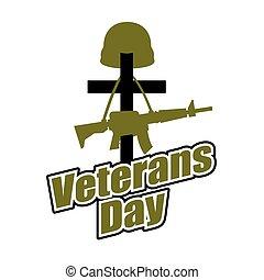 cruz, y, militar, casco, con, gun., veteranos, day., logotipo, para, fiesta nacional, en, america.