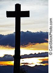 cruz, y, ocaso