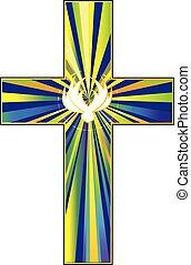 cruz, y, paloma, símbolo, de, christ's, resurrección