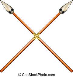 cruzado, antiguo, lanzas, dos