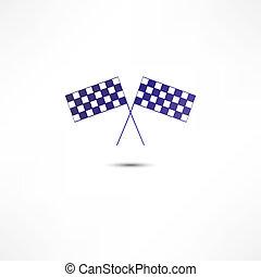cruzado, carreras, banderas, icono
