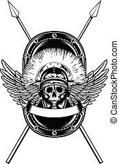 cruzado, casco, lanzas, cráneo