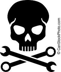 cruzado, chave, com, cranio