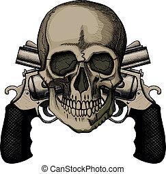 cruzado, dos, cráneo, revólveres