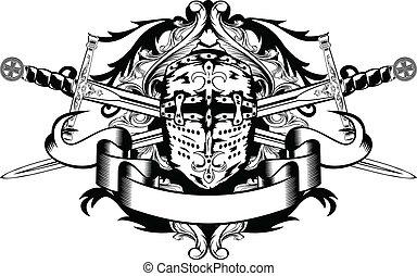 cruzado, espadas, capacete