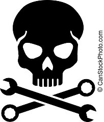 cruzado, llave inglesa, cráneo