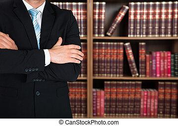 cruzado, midsection, advogado, braços