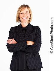 cruzado, mujer de negocios, brazos, retrato