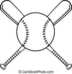 cruzado, pelota, béisbol batea