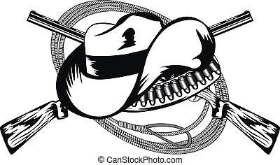 cruzado, rifles, y, sombrero