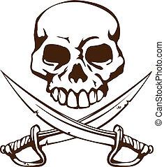 cruzado, símbolo, espadas, pirata, cráneo