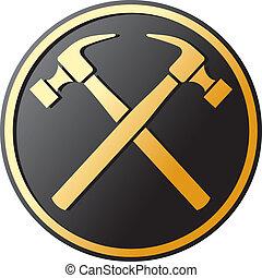cruzado, símbolo, martillo