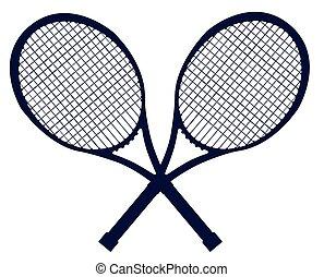 cruzado, silueta, raquetas