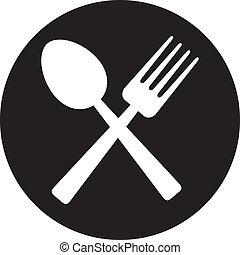 cruzado, tenedor, y, cuchara