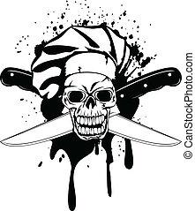 cruzado, toque, cuchillos, cráneo