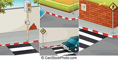 cruzamento, cenas, estrada, zebra