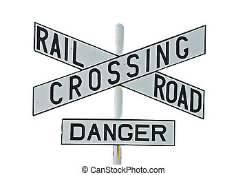 cruzamento, ferrovia, branca, isolado