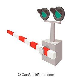 cruzamento, ferrovia, sinal, caricatura, ícone