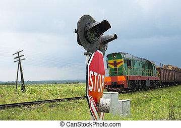 cruzamento, ferrovia, trem, aproximar-se, sinais